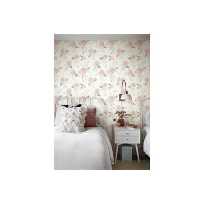 Watercolor Roses Pink Pre-Pasted Washable Wallpaper Roll (Covers 56 Sq. Ft.)