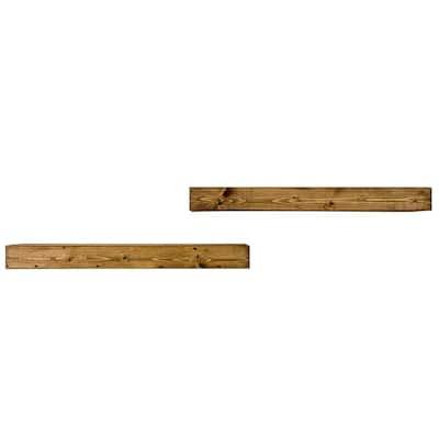 Artisan Haute 6in x 36in x 3.5in Dark Walnut Pine Wood Floating Box Set of Two Decorative Wall Shelves