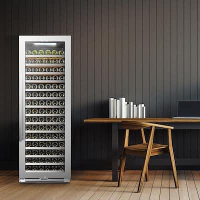 164 Bottle Seamless Stainless Steel Single Zone Wine Refrigerator