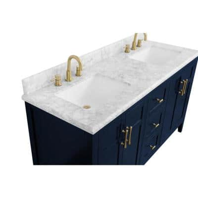Sturgess 61 in. W x 22 in. D Bath Vanity in Navy Blue with Marble Vanity Top in Carrara White with White Basins