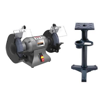 14.2-inch x 22.8-inch x 13.1-inch Industrial Grinder w/ GrayJet Iron Pedestal Stand w/ Coolant Tank in Gray