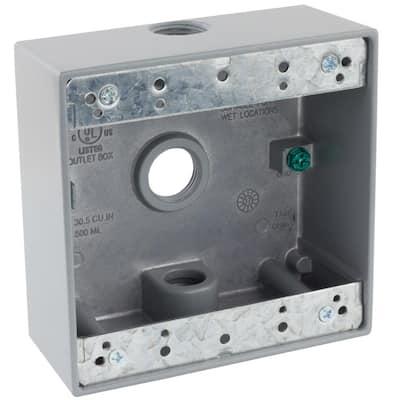 1/2 in. Gray 2-Gang 3-Holes Weatherproof Box