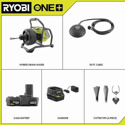 ONE+ 18V Hybrid Drain Auger Kit with 50 ft. Cable, 2.0 Ah Battery, 18V Charger and Cutter Tips (4-Piece)