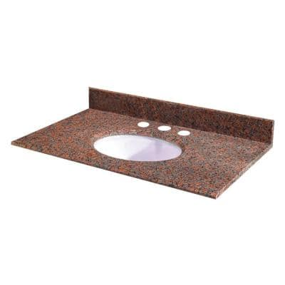 25 in. W Granite Vanity Top in Terra Cotta with White Bowl and 8 in. Faucet Spread