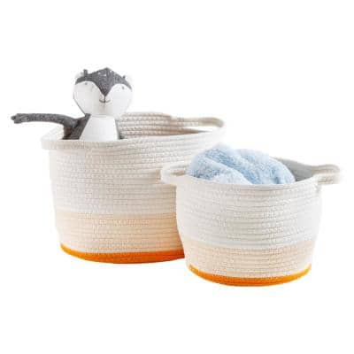 Yellow Ombre Nesting Cotton Rope Decorative Baskets (Set of 2)