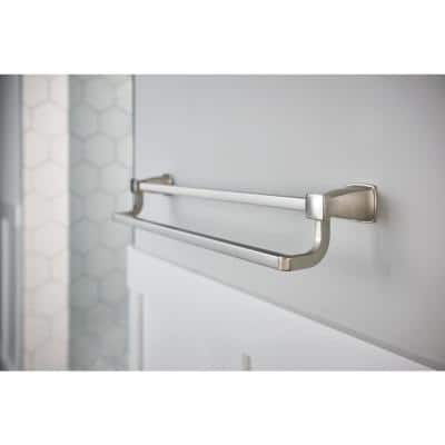 Hensley 24 in. Double Towel Bar with Press and Mark in Brushed Nickel