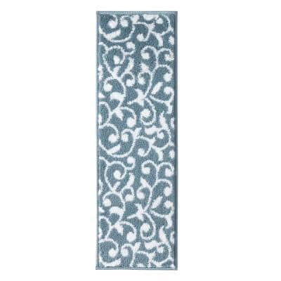 Leaves Collection Teal White 9 in. x 28 in. Polypropylene Stair Tread Cover (Set of 4)