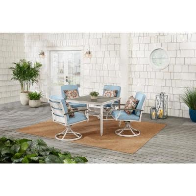 Marina Point 5-Piece White Steel Outdoor Patio Dining Set with Blue Cushions and Painted Steel Tabletop