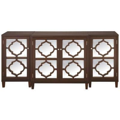 Reflections 74 in. Espresso/Clear Standard Rectangle Wood Console Table with Cabinet