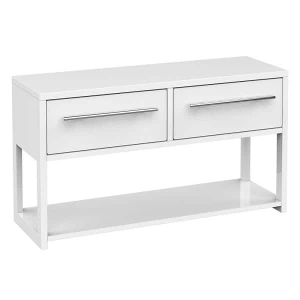 Fufu Gaga 33 1 In L X 18 4 H White Rectangle Wood Console Table Modern Coffee With Storage Shelf And 2 Drawers Tdjw Kf200012 01 The Home Depot - Modern White Console Table With Storage