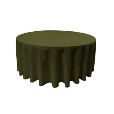 132 in. Round Olive Polyester Poplin Tablecloth