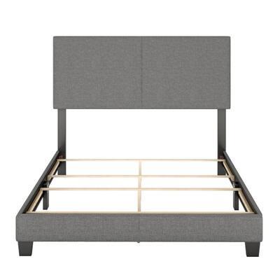 Barrett Full Grey Linen Upholstered Platform Bed