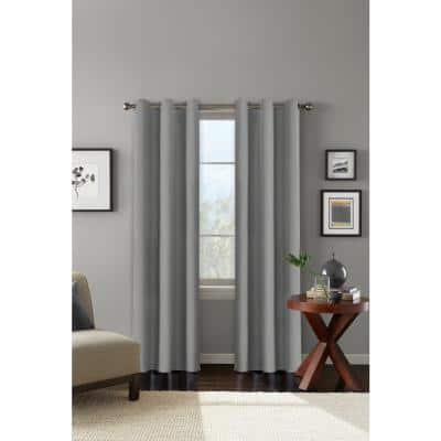 Grey Solid Grommet Blackout Curtain - 42 in. W x 84 in. L
