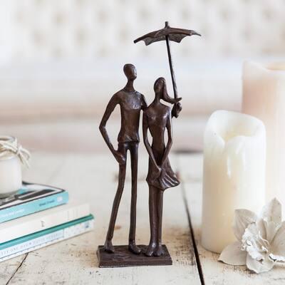 Loving Couple Under Umbrella Bronze Sculpture