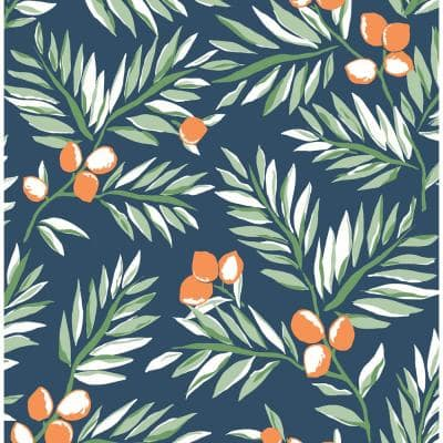 Citrus Branch Botanical Vinyl Peel & Stick Wallpaper Roll (Covers 30.75 Sq. Ft.)