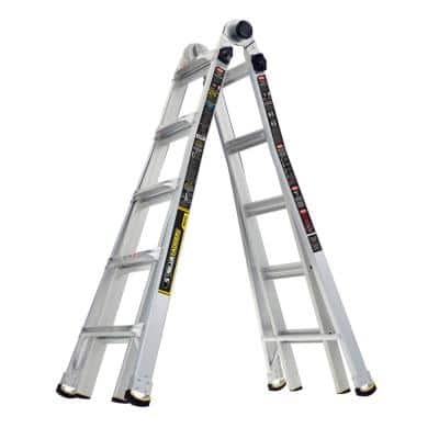 22 ft. Reach Aluminum Multi-Position Ladder with 375 lbs. Load Capacity Type IAA Duty Rating