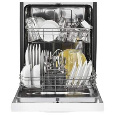 Front Control Tall Tub Dishwasher in White with Stainless Steel Tub