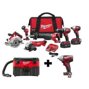 M18 18-Volt Lithium-Ion Cordless Combo Tool Kit (6-Tool) w/ Wet/Dry Vacuum and 3/8 in. Impact Wrench