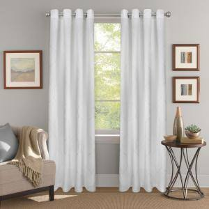 White Jacquard Polyester 52 in. W x 84 in. L Grommet Room Darkening Curtain Panel