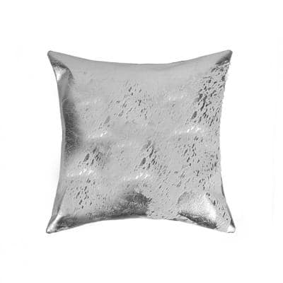 Josephine Gray Solid Color 18 in. x 18 in. Cowhide Throw Pillow