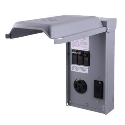RV Panel with 50 Amp RV Receptacle and 20 Amp GFCI Receptacle