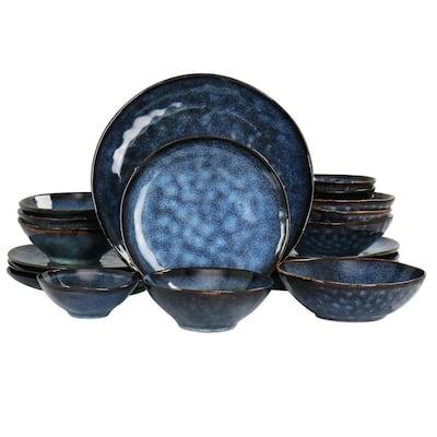 Lucca 20-Piece Blue Round Stoneware Triple Bowl Dinnerware Set