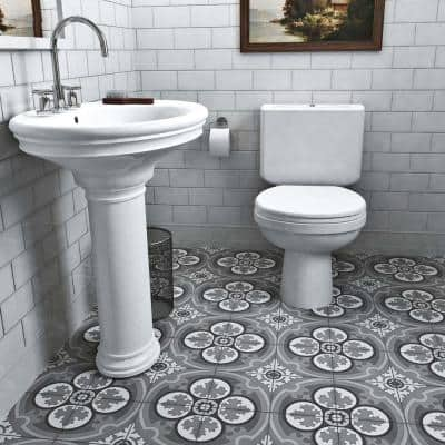Cemento Queen Mary Storm Encaustic 8 in. x 8 in. Cement Handmade Floor and Wall Tile (5.51 sq. ft. / Case)