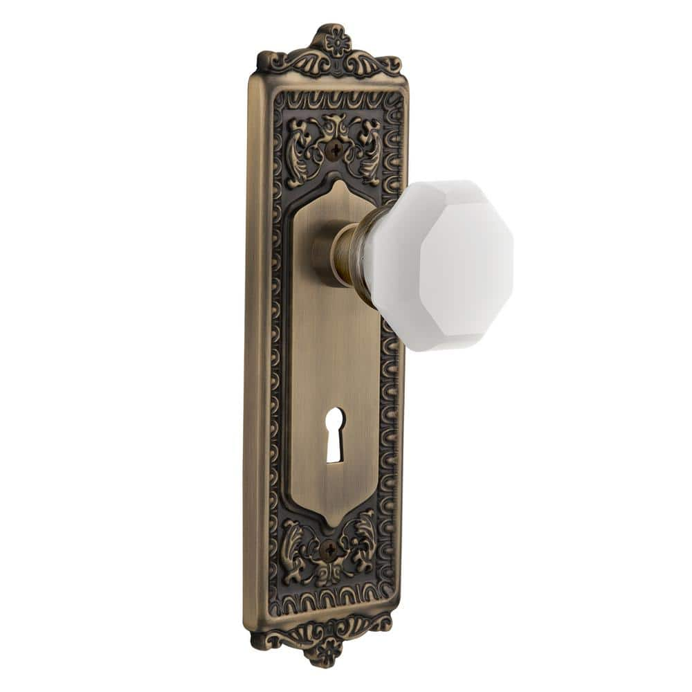 Nostalgic Warehouse Egg And Dart Plate With Keyhole Privacy Waldorf White Milk Glass Knob In Antique Brass 749321 The Home Depot