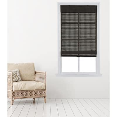 Dark Gray Cordless Carbonized Bamboo Roman Shade 35 in. W x 64 in. L