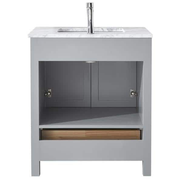 Eisen Home Amaya 30 In Bathroom Vanity In Grey With Marble Vanity Top In Cararra White With White Ceramic Basin And Mirror Eh V130 G Set The Home Depot