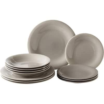 Color Loop Stone 12-piece Porcelain Dinnerware Set