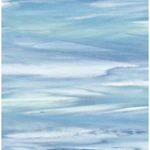 Sirius Brushstroke Lakeside And Mint Abstract Vinyl Peel & Stick Wallpaper Roll (Covers 30.75 Sq. Ft.)