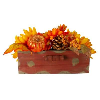 8 in. Autumn Harvest Maple Leaf and Berry Arrangement in Rustic Wooden Box Centerpiece