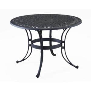 Sanibel Black 48 in. Round Cast Aluminum Outdoor Dining Table