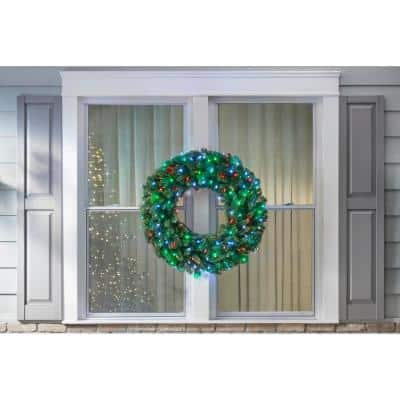 36 in. LED Pre-Lit Artificial Christmas Wreath with Micro-Style Red, Green and Pure White Lights