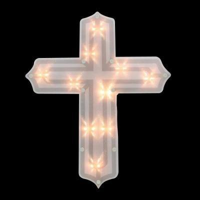 14 in. Lighted Religious Cross Easter Window Silhouette Decoration
