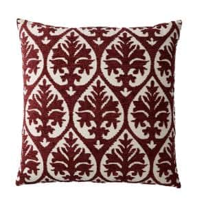 Embroidered Red Damask 26 in. x 26 in. Decorative Throw Pillow Cover