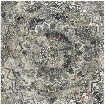 Marquee Gray/Multi 6 ft. x 6 ft. Square Border Area Rug