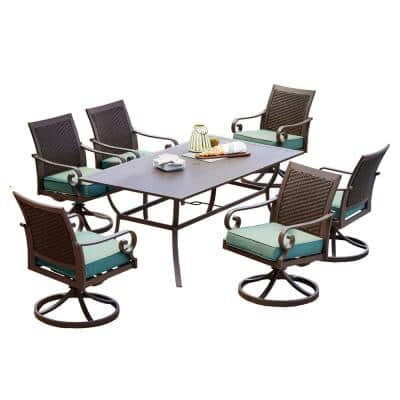 Milano 7-Piece Aluminum Swivel Outdoor Dining Set with Teal Cushions