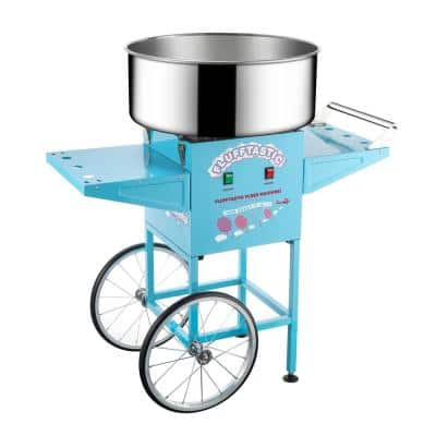 Flufftastic Commercial Blue Cotton Candy Machine with Cart