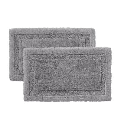 Stone Gray 19 in. x 34 in. Non-Skid Cotton Bath Rug with Border (Set of 2)