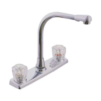 High-Rise 2-Handle Standard Kitchen Faucet with Side Sprayer in Chrome