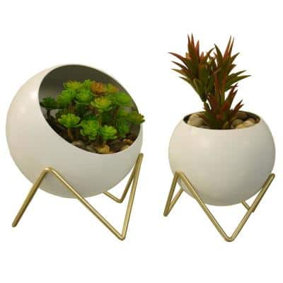 Spherical Planter, Decorative, Succulent , Modern Geometric Display Stand in White (Set of 2)