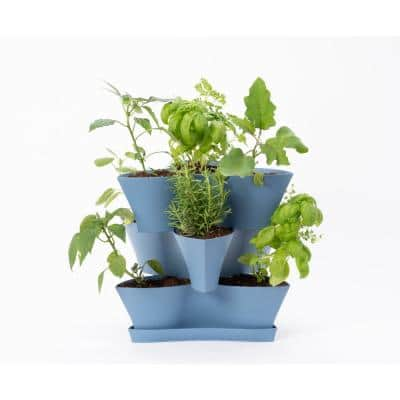 Collins Medium 16 in. 3-Tier Denim Blue Modular Multi-Level Vertical Herb Planter