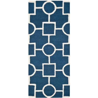 Cambridge Navy Blue/Ivory 3 ft. x 6 ft. Geometric Circle-Squares Runner Rug