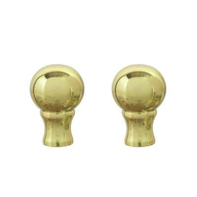 1-3/8 in. Brass Plated Steel Lamp Finial (2-Pack)