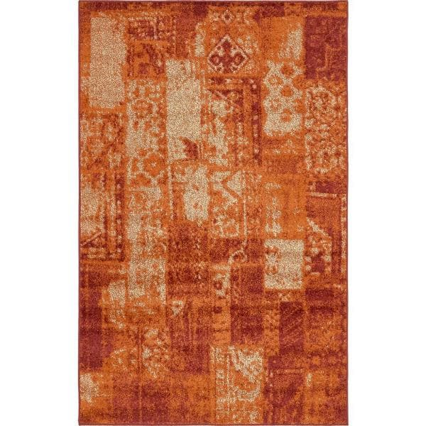 Unique Loom Autumn Plymouth Terracotta 5 0 X 8 0 Area Rug 3138218 The Home Depot