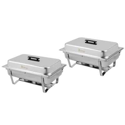 8 qt. Rectangle Stainless Steel Chafing Dish with Stand (Set of 2)