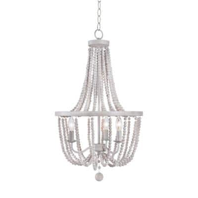 Oliver 3-Light Weathered White Beads Shade Natural Wood Beaded Chandelier