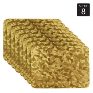 Metallic Leaf 18 in. x 12 in. Yellows/Golds Vinyl Placemats (Set of 8)